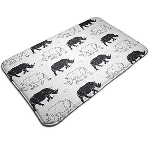 bc5d108b1d40 GDESFR Paillasson Black White Rhinos Outside Shoe Mat Rubber Paillasson for  Front Door Outdoor Mats Entrance Waterproof Rugs for Patio Non Skid ...