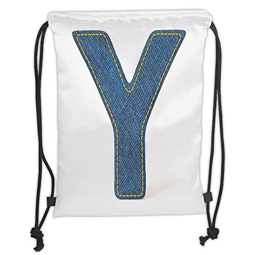 LULUZXOA Gym Bag Printed Drawstring Sack Backpacks Bags,Letter Y,ABC of Vintage Fashion Theme Jeans Fabric Denim Texture and Uppercase Y Image Decorative,Blue Yellow Soft Satinrin -