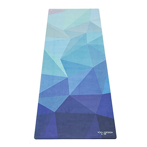 Yoga Design Lab Pendler Yogamatte 1,5mm | rutschfest, Faltbar, Leicht, Matte/Handtuch, Waschmaschinenfest | mit Tragegurt (Geo Blue)