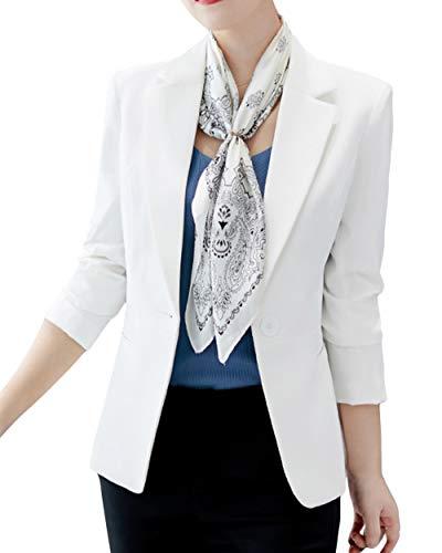 ORANDESIGNE Damen Cardigan Elegant Blazer Langärmliger Anzugjacke Einfarbig Blazer Business Slim Fit Bolero Jacke Anzug Trenchcoat Weiß DE 42