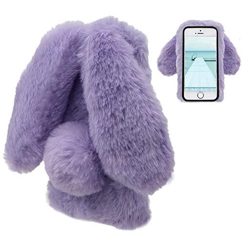 LCHDA Plüsch Hülle iPhone 5 5S SE Flauschige Hasen Fell Hülle Handyhülle Für Mädchen Süße Winter Warm Weich Kaninchen Pelz Niedlich Hasenohren Handytasche Schützend Stoßfest TPU Silikonhülle-Lila