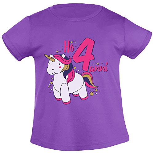 Dolce Unicorno Ho Quattro Anni Regalo Compleanno T Shirt Maglietta Bambina
