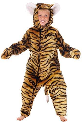 (Jungen oder Mädchen Kinder Kinder Deluxe Tiger Einteiler Tier Kostüm Kleid Outfit - Braun, Braun, 3 years (98cms))