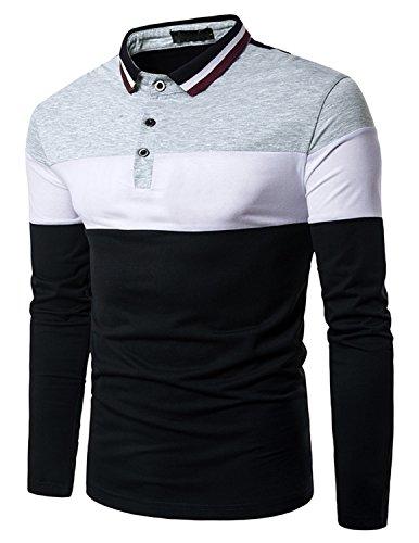 Boom Fashion Hombre Camisetas y Polos Mangas Largas Casual Oficina Botón Camisas Gris large
