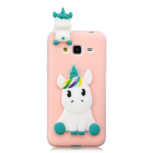 Cover per Samsung Galaxy J3 2016/J310 Silicone Custodia Galaxy J3 2016/J310 3D Cartoon Morbido TPU Gel Case Anti-Graffio Antiurto Ultra Sottile Flessibile Gomma Protettiva Bumper Caso, Unicorno Rosa