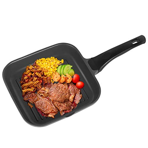OZAVO Poêle Griller Antiadhésive Carré, Grill à Steak BBQ, Casseroles Poêle 24x24x4.5cm, Manche Amovible, Convient pour Four, Noir