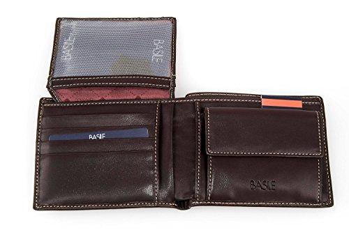 Portafoglio uomo BASILE moro vera pelle porta carte di credito con patta A3349