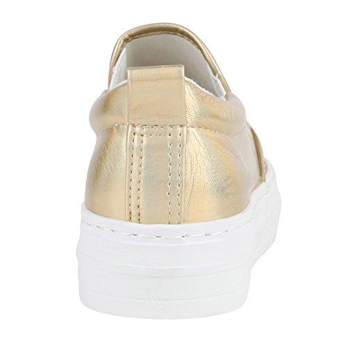 Damen Glitzer Slip-ons Plateau Metallic Slipper Mode Schuhe   Gr. 36-41 ... 5ea1eb6ad4