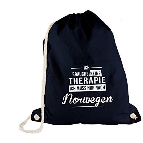 Monkiez Turnbeutel - Ich Brauche Keine Therapie Norwegen - Therapy Urlaub Norway, Navy
