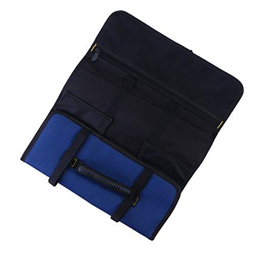 XIANGSHOU Multi-Pocket-Auto-Reparatur-Tools Faltbare Tasche Handheld Roll Bag Auto Hardware-Tool Organizer (Blau)