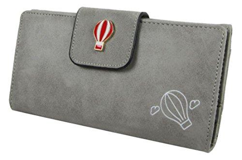 Kukubird In Ecopelle Con Hot Air Baloon Dettaglio & Badge Grande Ladies Borsa Clutch Wallet Grey