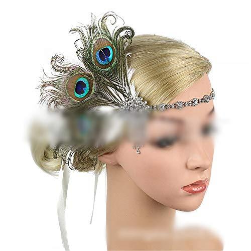 Kostüm Ära 1920 - MALLTY Feder Haarband 20er Jahre Ära Gatsby Retro übertrieben Pfau Feder Haar Accessoires Stirn mit Quaste Haarband (Farbe : Grün)