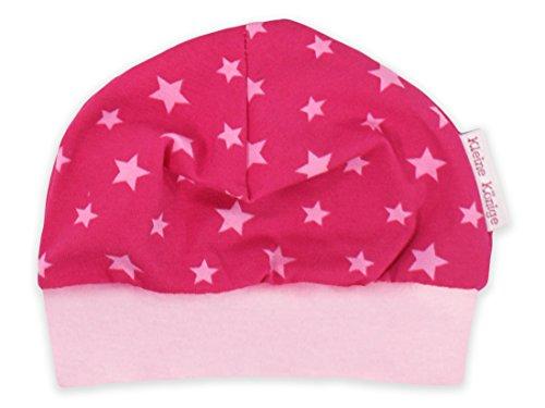 Kinder-Mütze 'Sterne' pink Baby-Mütze Jerseymütze von Kleine Könige Größe 35-39cm (50/56), Farbe rosa