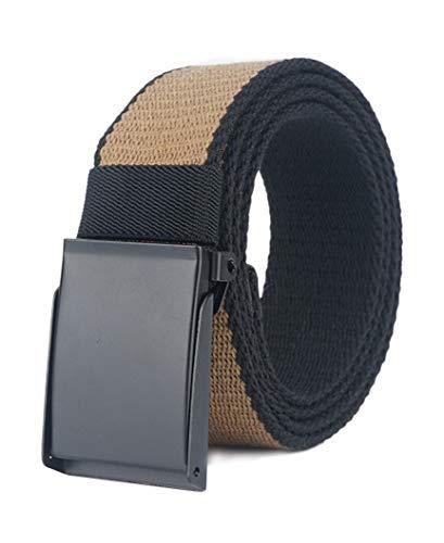 Longwu Cintura da uomo in tela di cotone con fibbia militare in metallo nero Flip-Top per il golf all'aperto Cachi