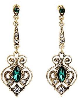 LARESDOMI Vintage Gold-tone Crystal imitación Incrustada Verde Turmalina Classic Georgian gota pendientes