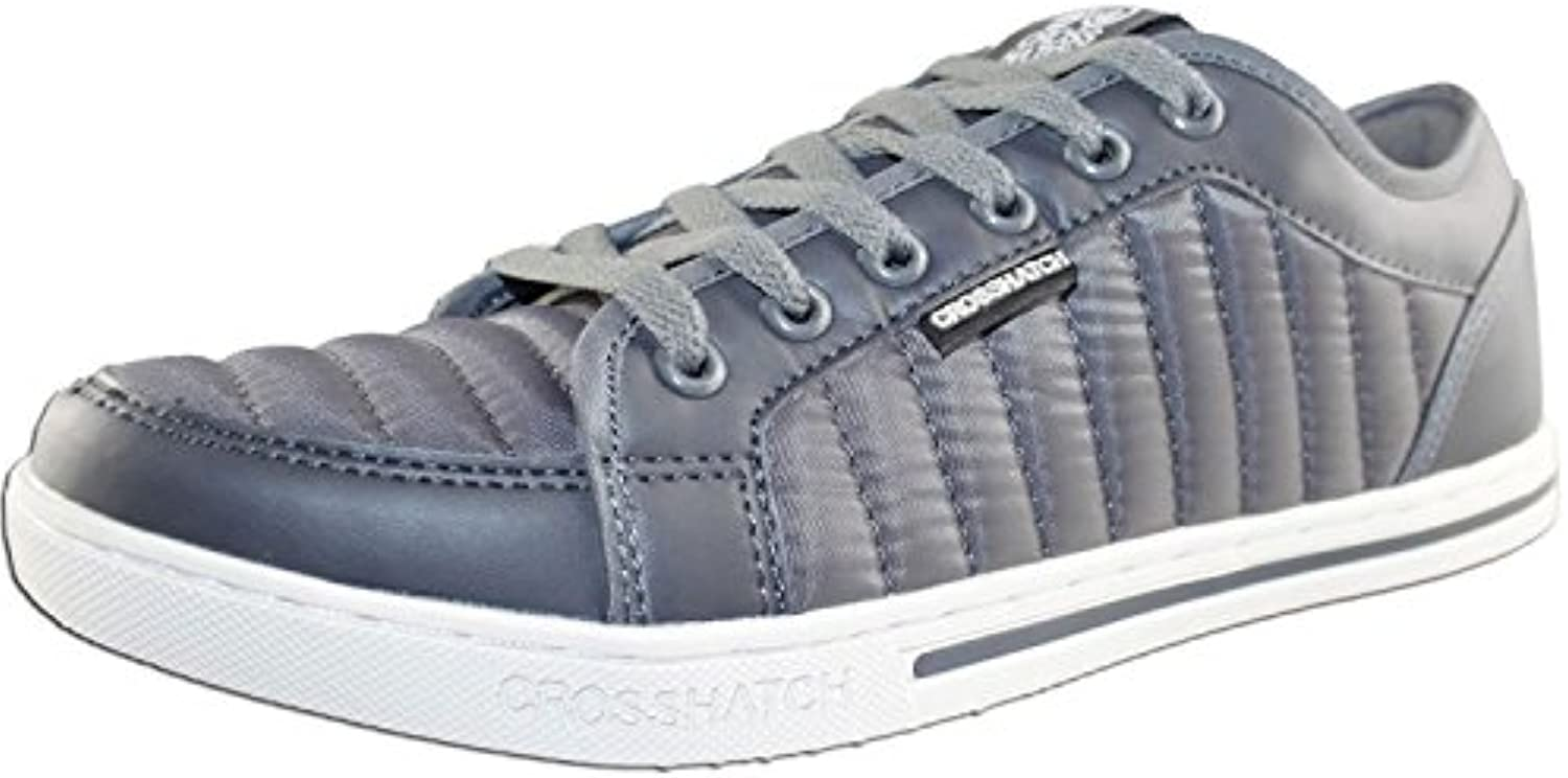 Mens Crosshatch Valmer Designer Quilted Trainers Sneakers UK Casual Joggers Shoes