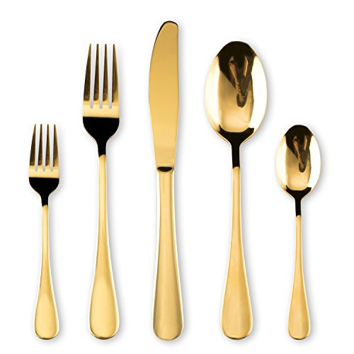 HOMQUEN Cutlery Set, Gold Flatware Set, Stainless Steel Set Service for 6 Persons, 30 Piece Dining Flatware Set