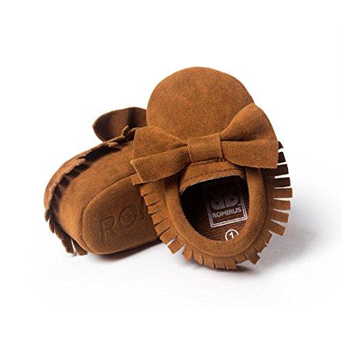 Reasoncool Principessa dell'arco pattini di bambino calza scarpe da bambino (0-6M, Rosa) Caffè