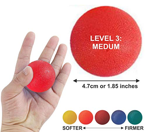 Lumino Cielo Stress Relief Therapy Exercise Squeeze Balls for Fingers, Wrist Exercise, Hand strengthener and Arthritis Grip Exerciser ... (Level 3: Red)