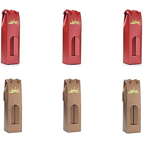 Xichen @ Set di 6Deluxe Bottiglia di vino borsa 3xRed e 3xchampagne Oro