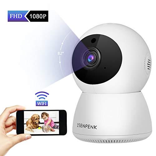 Camera Surveillance WiFi, ISENPENK Camera IP 1080P HD Vision Nocturne 360 °Détection de Mouvement Interieur Moniteur pour Bébé Sécurité à Domicile Utiliser avec APP Android iOS