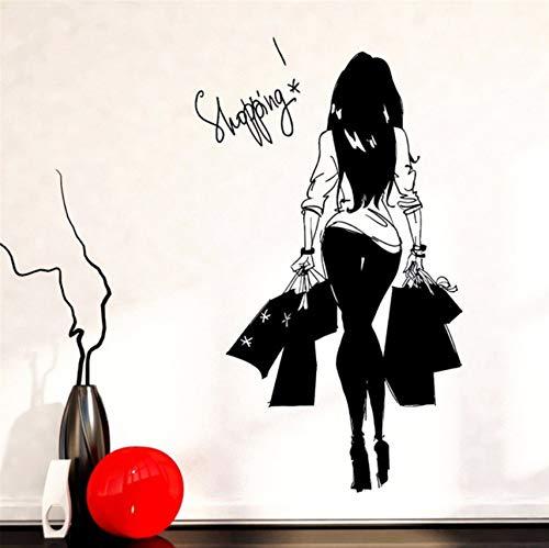 Hwhz 50 X 88 Cm Mädchen Junge Frau Einkaufstasche Kleidung Shop Vinyl Wandtattoo Wandaufkleber Bekleidungsgeschäft Sexy Shopping Mädchen Schlafzimmer Dekoration