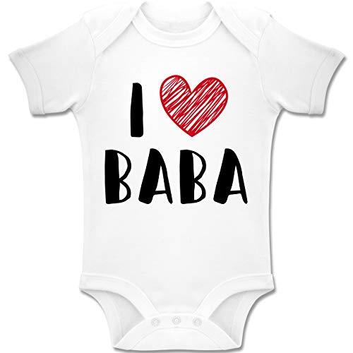 Shirtracer Bunt gemischt Baby - I Love Baba - 12-18 Monate - Weiß - BZ10 - Baby Body Kurzarm Jungen Mädchen