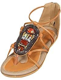 2707a75df30 MOIKA Femme Sandales été Chaussures Plat Bohème Claquettes Style Tressée  Bout Ouvert Doux Perlée Chaussure Plate