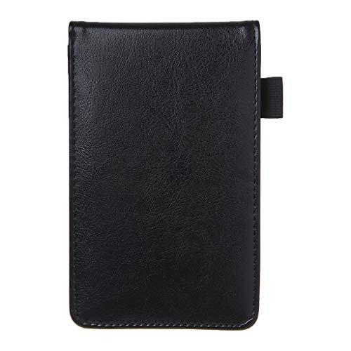 Meiqqm - agenda tascabile multifunzione, formato a7, piccolo taccuino con copertina in pelle, ideale per ufficio, scuola, cancelleria 9x14cm nero