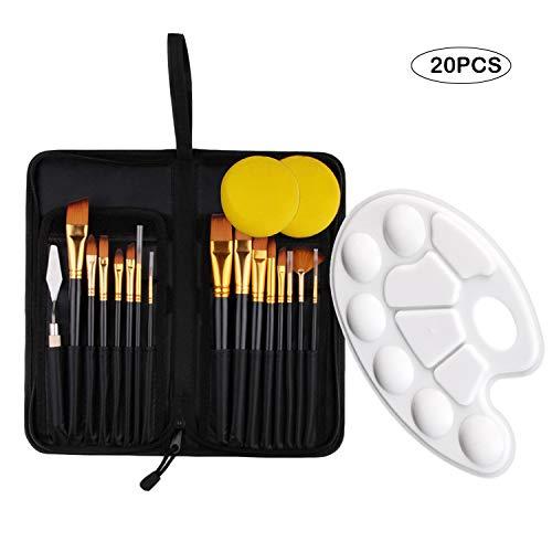 Boodtag Malerei Pinsel Set Aquarell Acryl Ölgemälde Leinwand Künstlerpinsel inkl.15 Stücke Pinsel,Palettenmesser,Schwämme für Acryl und Reißverschlusstasche