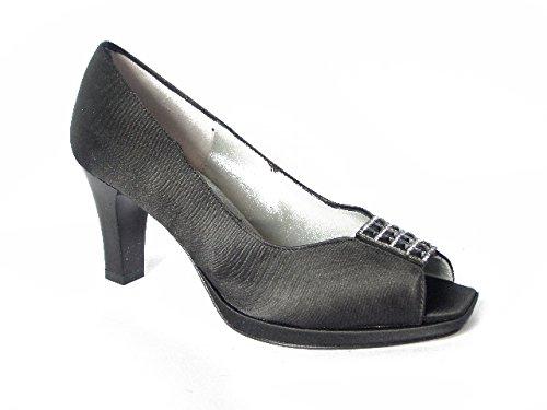 Scarpa donna Gaja-Soffice sogno, decolletè elegante in tessuto raso con tacco 7cm. e plateau 1cm.-5221