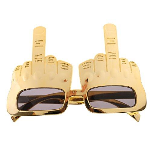 Kostüm Mittelfinger - Sharplace Mittelfinger Design Sonnenbrille Spaßbrillen Party Kostüm Zubehör - Gold