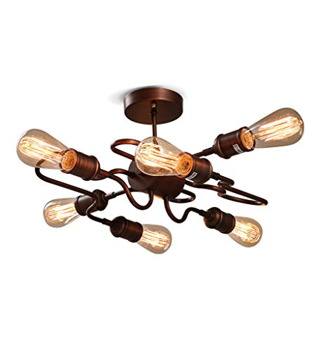 YANZHEN Retro Deckenlampe Industrie-Eisen, um die alte Farbe 6 Kopf 4W / 2W Cafe Kleidung Speichern (Farbe : 4W*6, größe : 49 * 26cm)