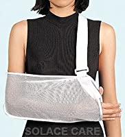 Solace Care Mesh Adjustable Arm Sling with Advance Thumb Loop - Support Brace Protection Fracture Pain - Arm Injury Pain Spling Support- Shoulder subluxation, Dislocation Support - Post Surgical Protection Mesh Arm Sling (UNISEX)