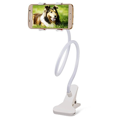 SBA BRANDED ORIGINAL 100% GENUINE QUALITY ONLY FROM V.A. BRANDS UNIVERSAL LONG ARM LAZY MOBILE PHONE HOLDER STAND FOR All iOS & Android Smartphones &Tablets like NOKIA, LG, MICROMAX, HTC, SAMSUNG, LENOVO, SONY, DELL, MICROMAX, HONOR, KARBON, XIOMI, MI, MOTOROLA , ONEPLUS, GIONEE, OPPO, HUAWEI, GOOGLE, BLACKBERRY,INTEX,SPICE , LAVA, iPhone 6, 6+, 5s, 5c, 5, iPad Air and iPad Mini etc.BELOW 11 INCH SIZE-WHITE