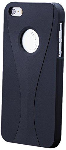 iCues Apple iPhone 5/5S/SE 3 Part Case Cover - Schwarz-Rot - Dreiteilige Bauweise - Stabiles Polycarbonat + Displayschutzfolie Schwarz/Schwarz