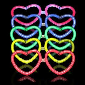 Dp Design® Occhiali Luminosi Fluorescenti A Cuore Led Per Feste Party Glow Eyeglasses Confezione Da 10 Pezzi ZPNuz