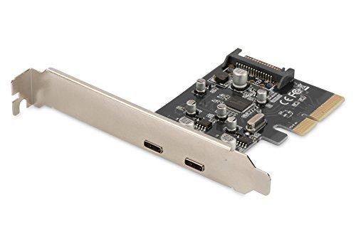 DIGITUS Interface Karte, PCIe, USB 3.1 Typ C, 2 Ports, bis zu 10 Gbit/s, je Port 5V/900mA, Überspannungsschutz