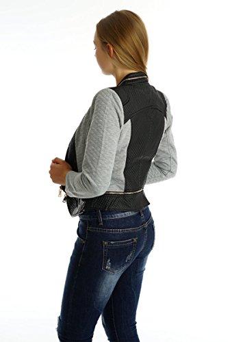 5099 Fashion4Young Damen Kurzjacke kragenlos Jäckchen Biker-Style kurze Jacke Lederimitat Grau