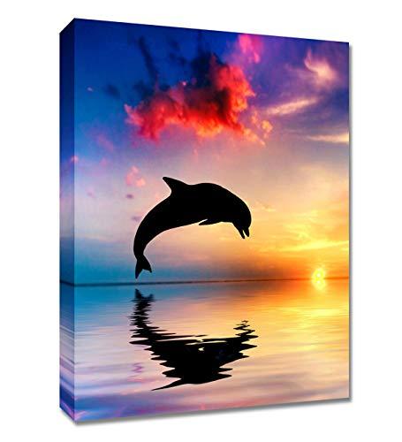BLUE RED CYAN Leinwandbild, maritimes Gemälde, Blauer Sonnenuntergang Ozean, Kristall, Delfin, für modernes Büro, mit gerahmter Wanddekoration, Strandmotiv 12x16 inches Blau/Delfin -