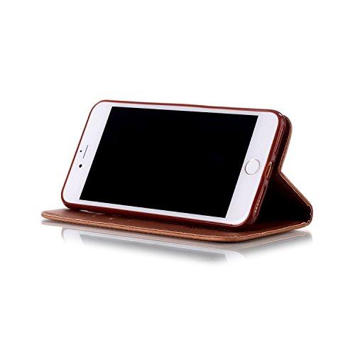 iPhone 7S Plus Hülle Traumfänger, LuckyW Einfarbig Traumfänger Mandala Muster Pattern PU Leder Hülle für Apple iPhone 7 Plus/7S Plus(5.5 zoll) TPU Soft Rückseite Abdeckung Ledertasche Brieftasche Flip Braun
