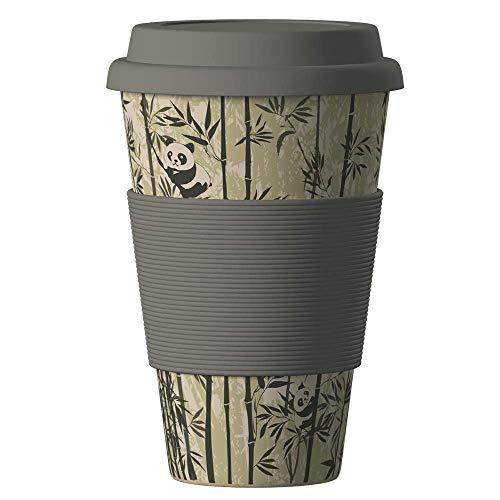 Bambus Becher wiederverwendbare Kaffeetasse mit dichtem Deckel, Trinkloch und Silikonhülle - Bamboo Eco ECoffee Cup - lebensmittelecht und spülmaschinenfest 400 ml
