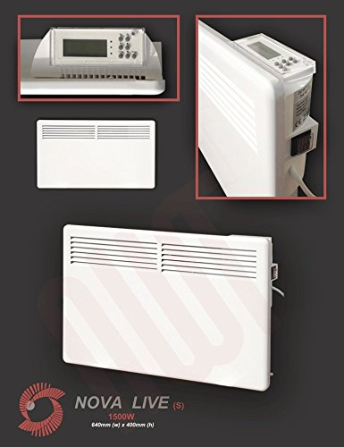 "41t0 c8spwL - 1500w""Nova Live S"" White Electric Horizontal Panel Heater - 24hr/7 day programming, 1.5KW Convector Heater - 640mm(w) x 400mm(h)"