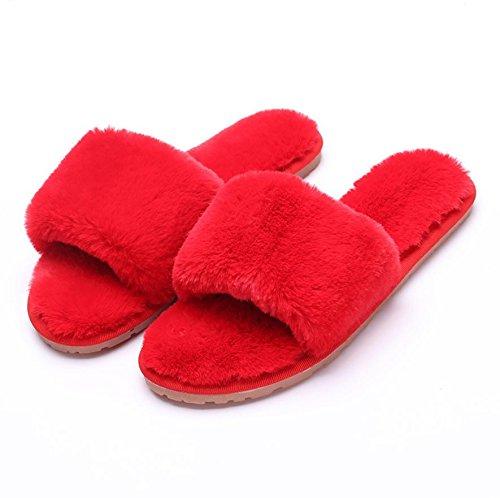 Mhgao slip da donna casual autunno inverno peluche cotone pantofole calde pantofole 6
