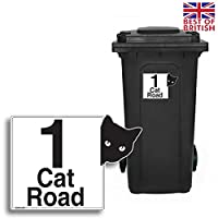 CAT - Personalised Wheelie Bin Sticker/Vinyl Labels with House Number & Street Name - Size A5 [4 Pack]