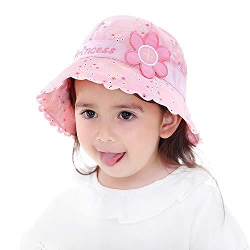 ANIMQUE Mädchen Sonnenhut Prinzessin Rosa Süß Baby Eimerhut Baumwolle UV Schutz Sommer Hut Kinderhut, Kopfumfang 51cm XL -