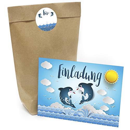 burtstag Set mit 16 Geschenktüten (Party-Tüten), Einladungskarten und Aufklebern Motiv: Delphine Schwimmbad Geburtstag ()