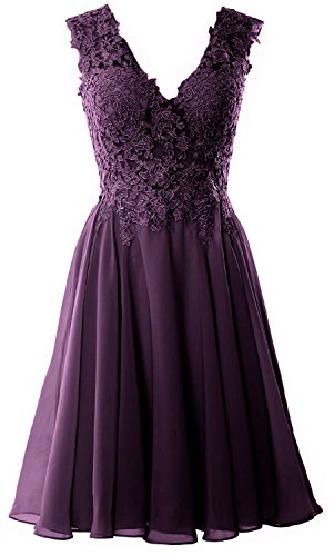 MACloth Gorgeous V Neck Cocktail Dress Short Lace Prom Homecoming Formal Gown Prune