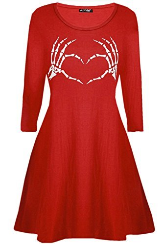 Oops Outlet Damen Skelett Knochen Herz-Aufdruck Halloween Kittel ausgestellt Damen Mini Swing Kleid - Rot, Plus Size (UK 16/18)