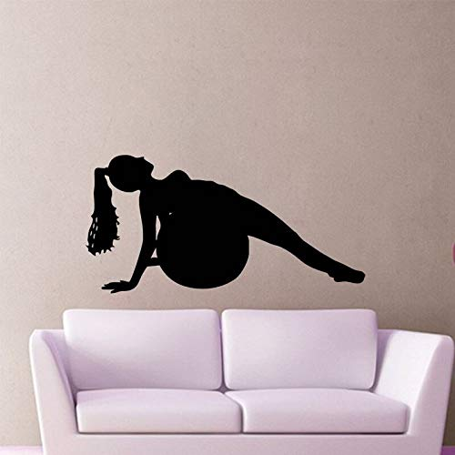 yiyiyaya Frauen Fitness Ball Pilates Übung Wandaufkleber Wohnkultur Gym Wand Dekorative Aufkleber Vinyl Wandtattoos 59X119 cm -